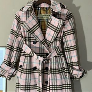 Burberry Wool Coat Pink Plaid Nova Check Belted